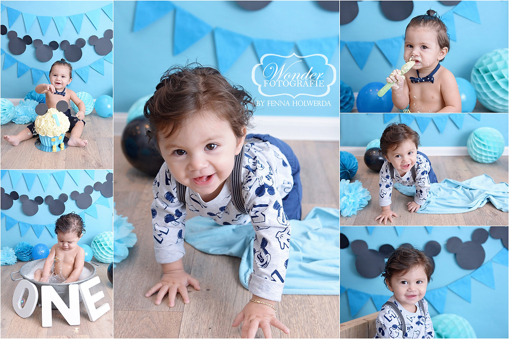 cake smash fotoshoot photoshoot baby Mickey Mouse lichtblauw