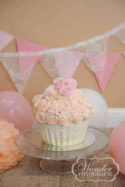 cake smash fotoshoot almere kant zachte kleuren pastel roze meisje copy