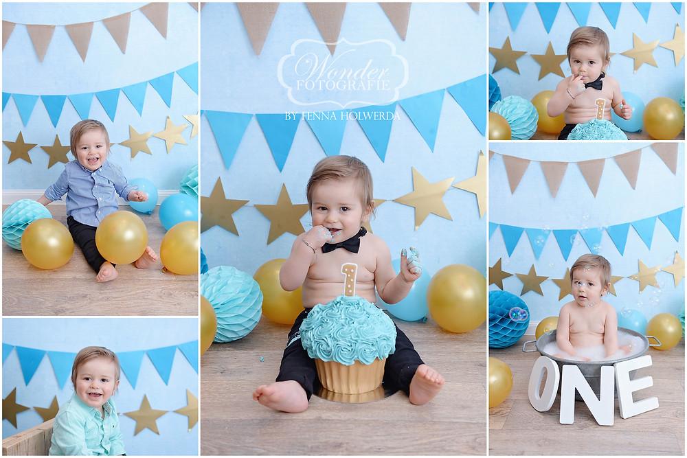 Cake Smash fotoshoot shoot eerste verjaardag photoshoot blauw goud jongen outfit kleding tips almere