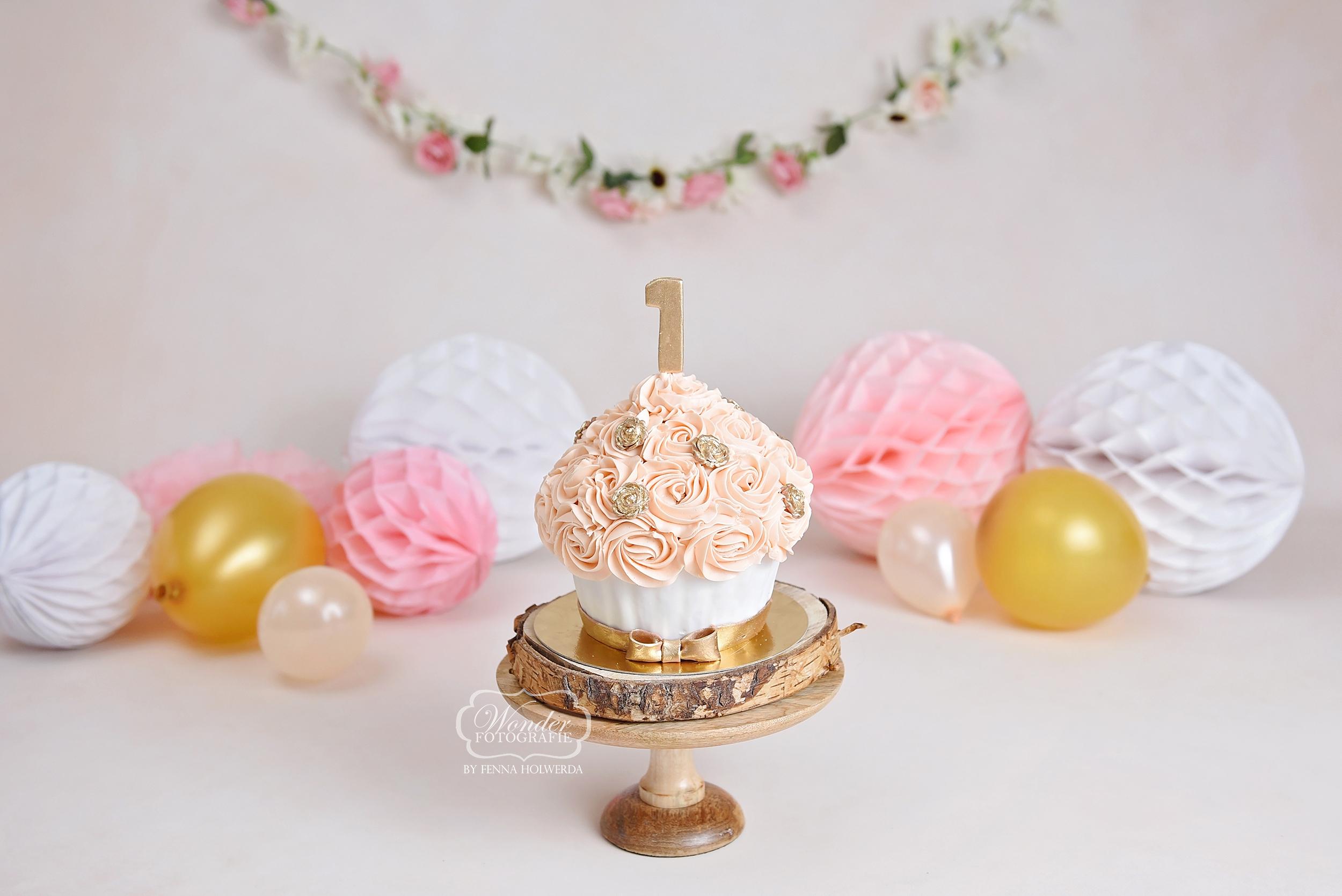 giant cupcake zalm goud roosjes cake smash fotoshoot