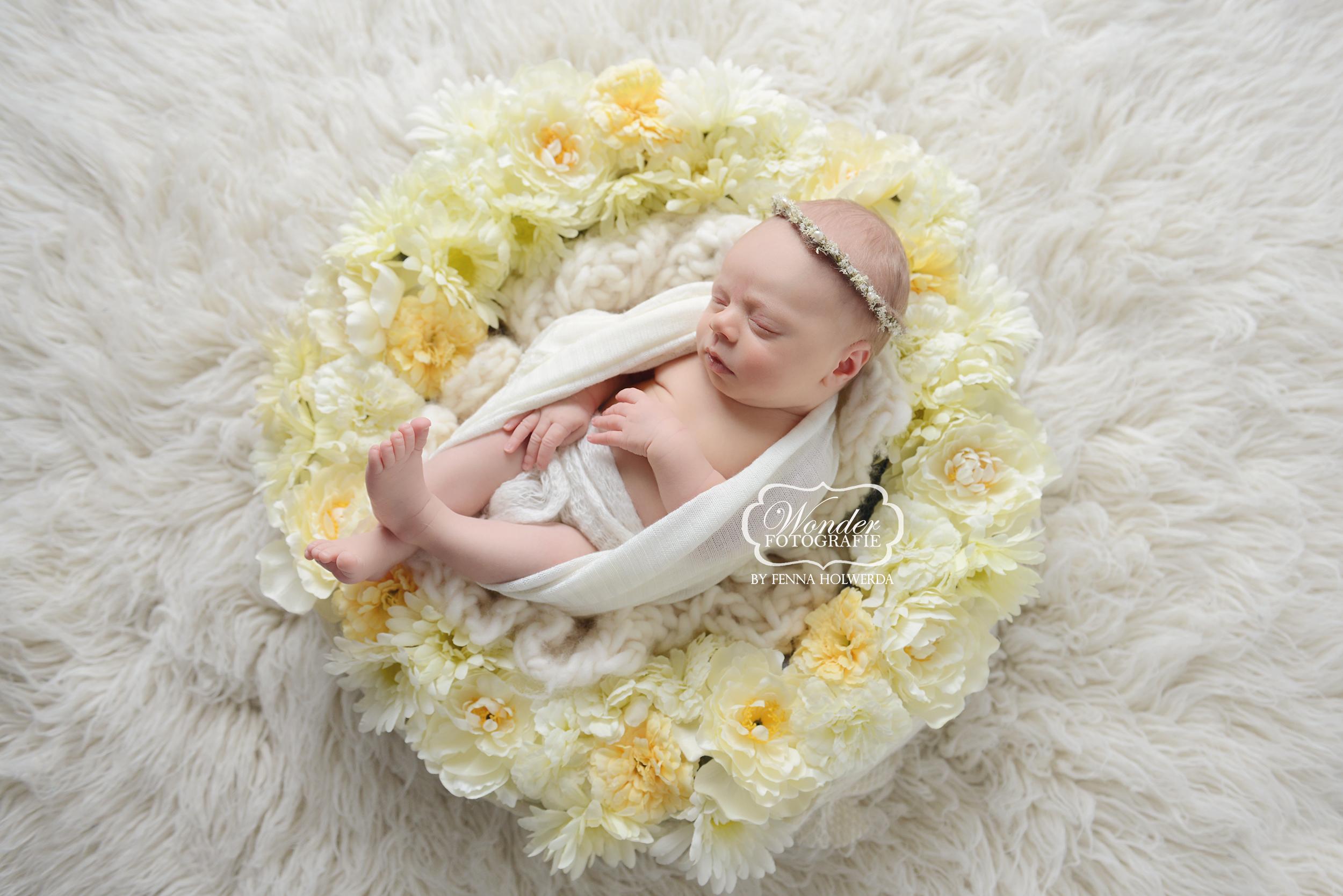 newborn fotoshoot girl meisje baby bloemen flowers