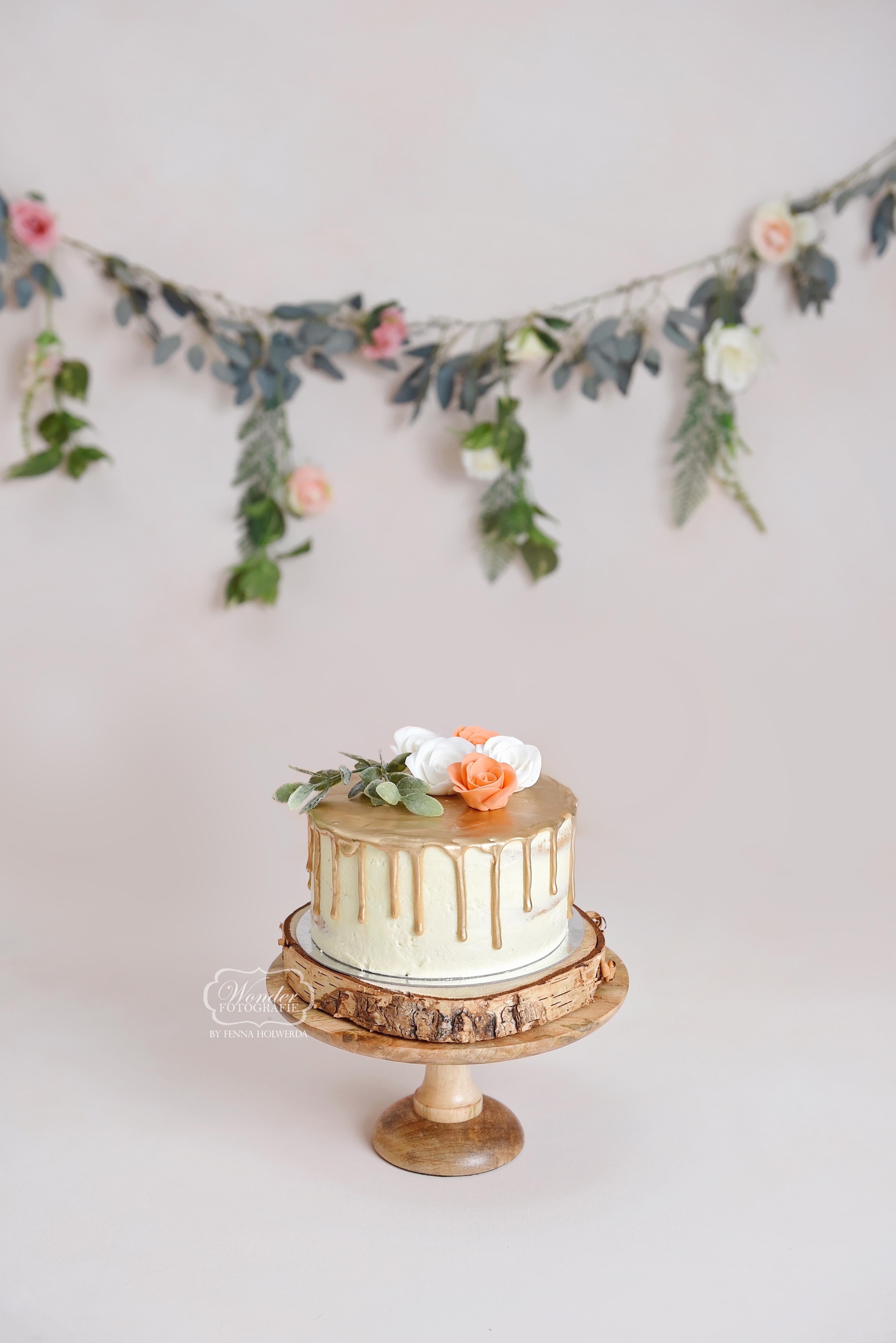 1 taart cake smash fotoshoot simpel natu