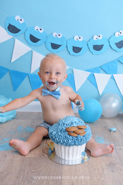 Cake Smash Fotoshoot Sesamstraat Koekiemonster taart Giant Cupcake Eerste verjaardag