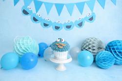 Cake Smash Fotoshoot blauwe doorlopende achtergrond koekiemonster