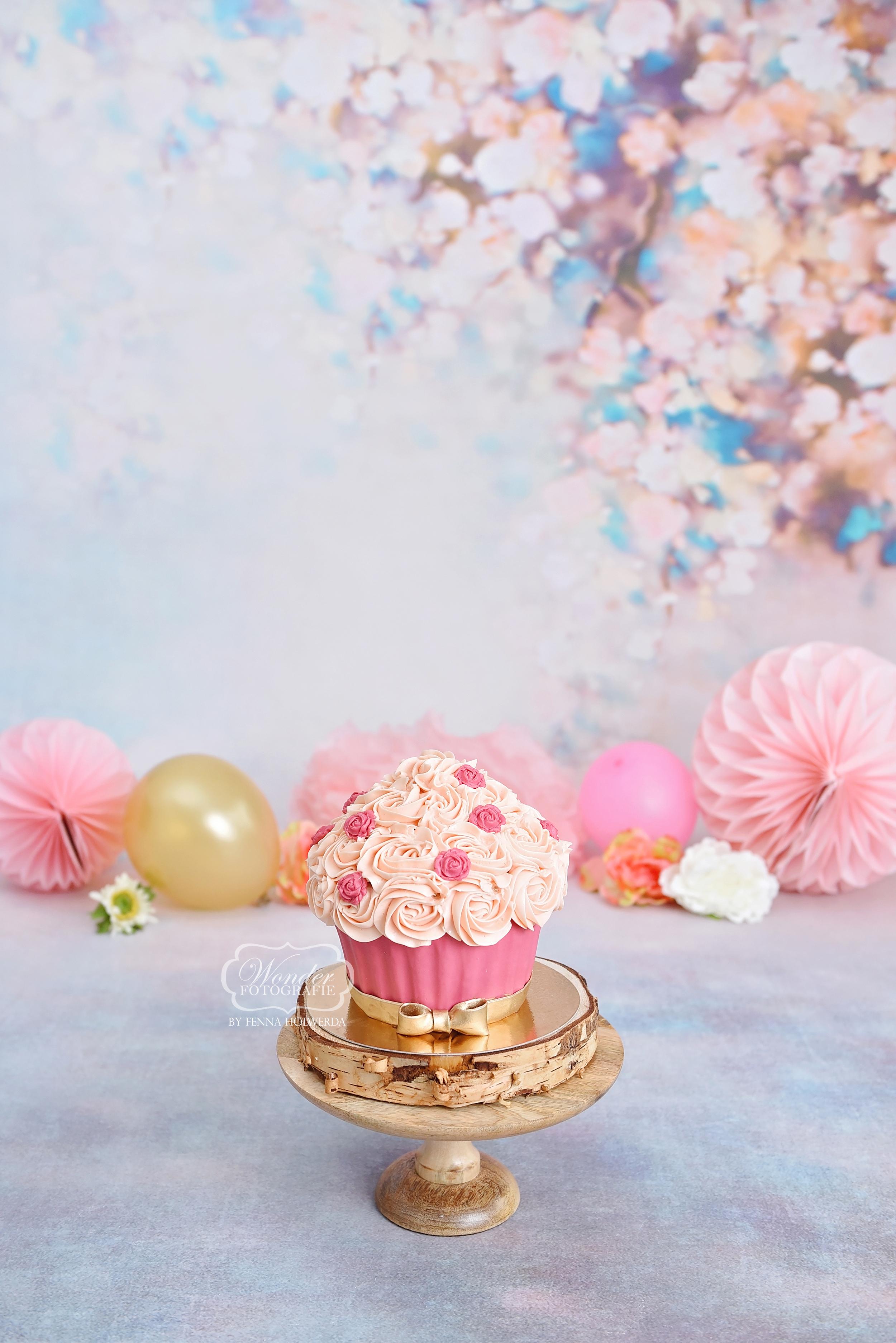 Cake Smash Fotoshoot cupcake bloesem vin