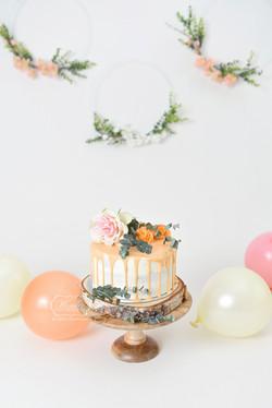 2 boho cake smash fotoshoot botanical photo shoot fotoshoot zalm roze perzik