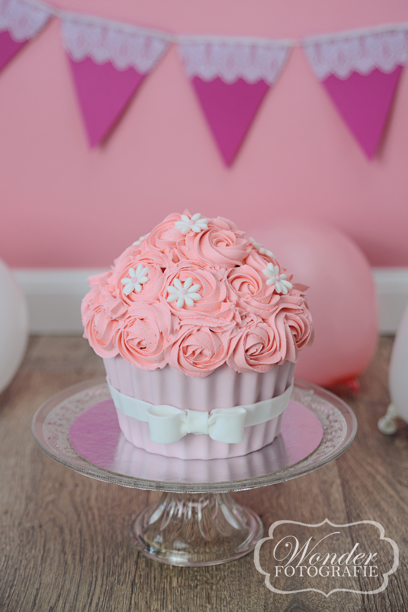 Cake Smash Roze - Wonder Fotografie