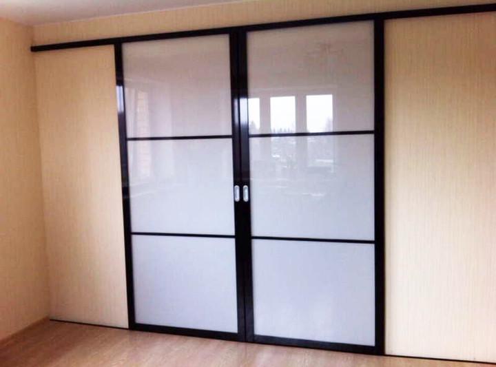 Двери-купе со стеклом белого цвета