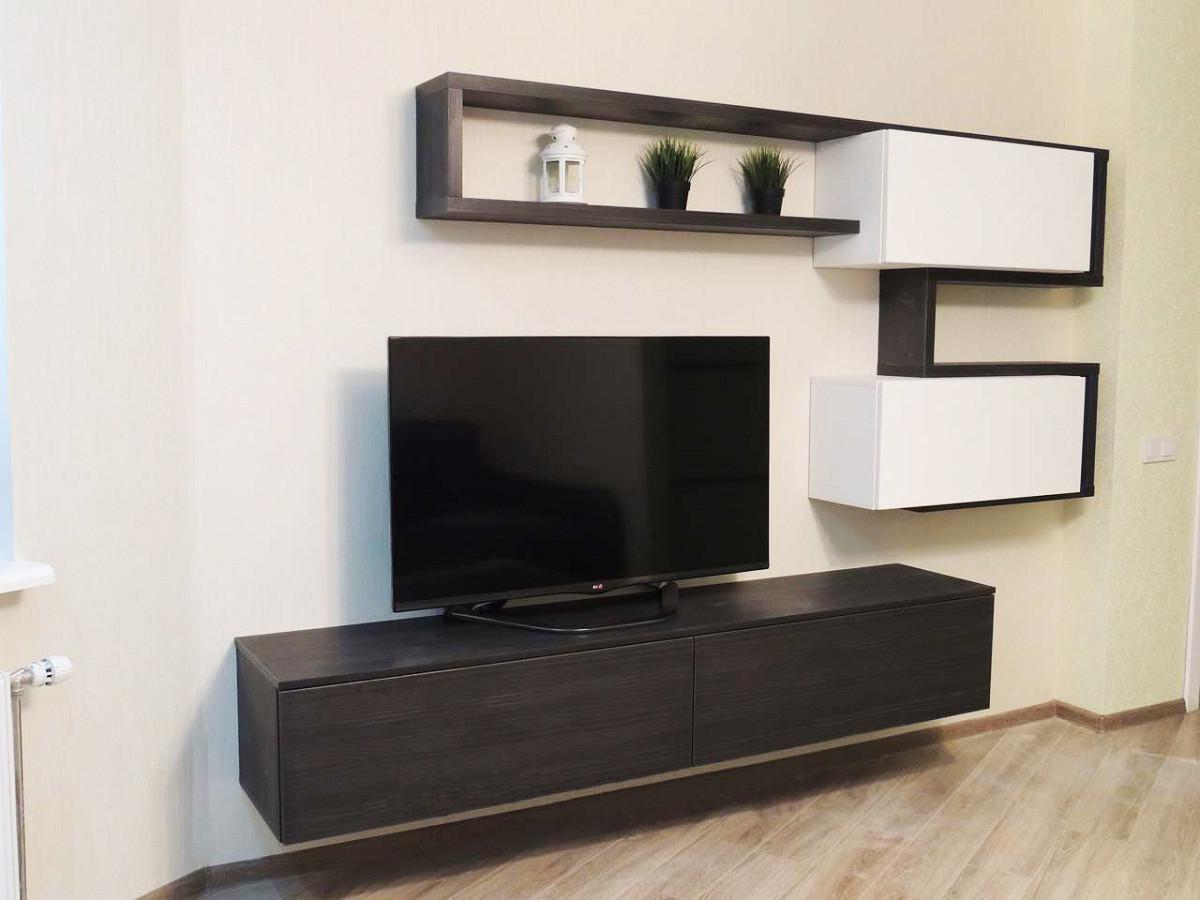 Стенка в гостиную с зоной для телевизора с навесными модулями