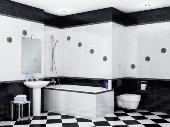 Контраст белой и черной плитки в ванной