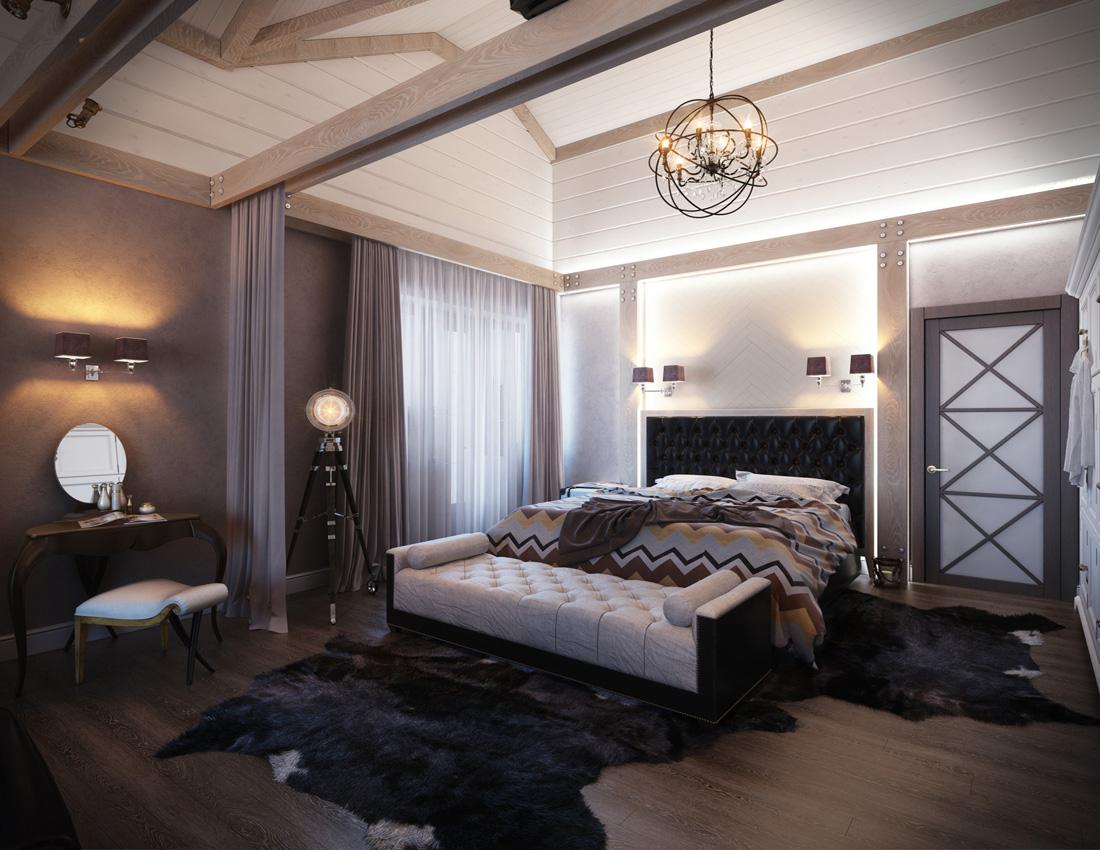 Дизайн спальной в коттедже