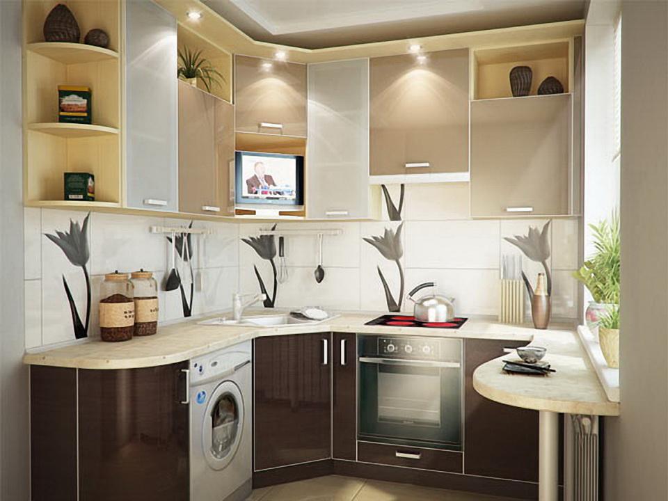 Вариант оформления и дизайна маленькой кухни