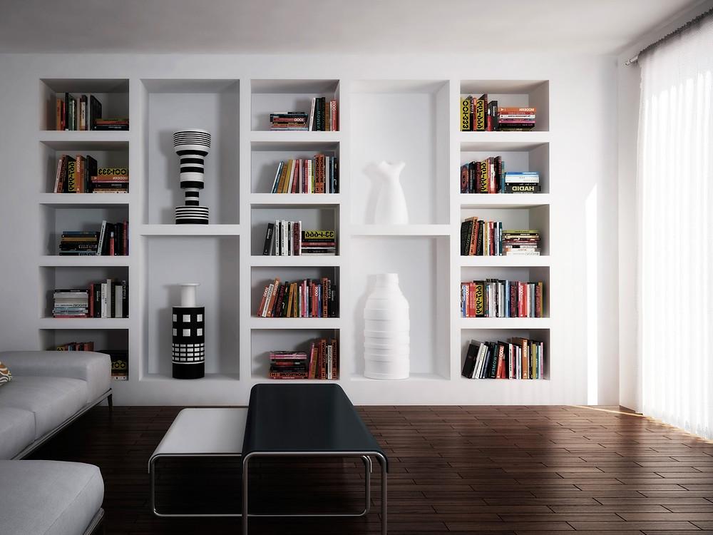 Современный открытый книжный шкаф
