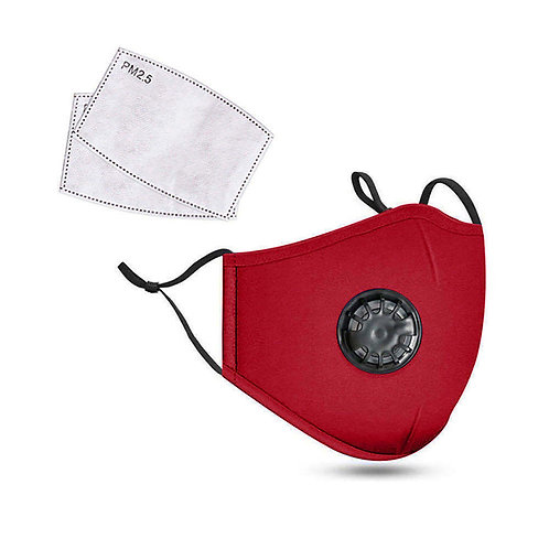 Red 3-Ply PREMIUM Cloth Face Cover With Exhalation Valve