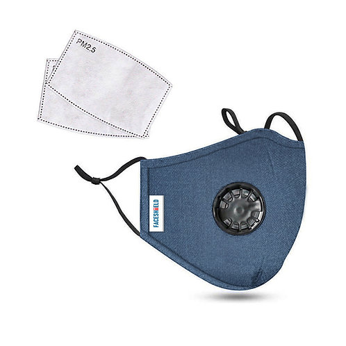 Blue Jean 3-Ply PREMIUM Cloth Face Cover With Exhalation Valve