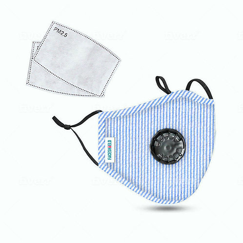 Children White/Blue Stripes 3-Ply PREMIUM Cloth Face Cover w/Exhalation Valve