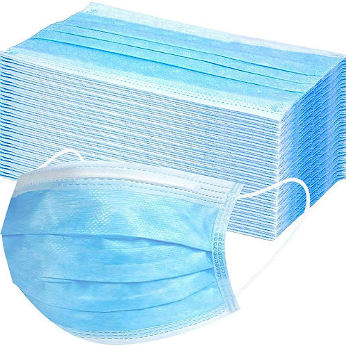 100 boxes - 5,000 pcs Non-Medical 3 ply Blue Earloop Face Mask Disposable
