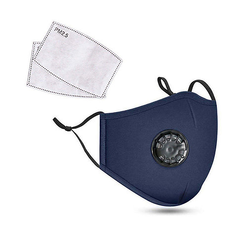 Navy Blue 3-Ply PREMIUM Cloth Face Cover With Exhalation Valve