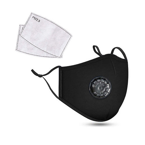 Black 3-Ply PREMIUM Cloth Face Cover With Exhalation Valve