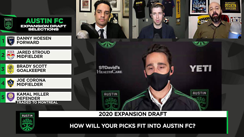 Josh Wolff joins the hosts of Extra Time during the 2020 Expansion Draft via video conference.