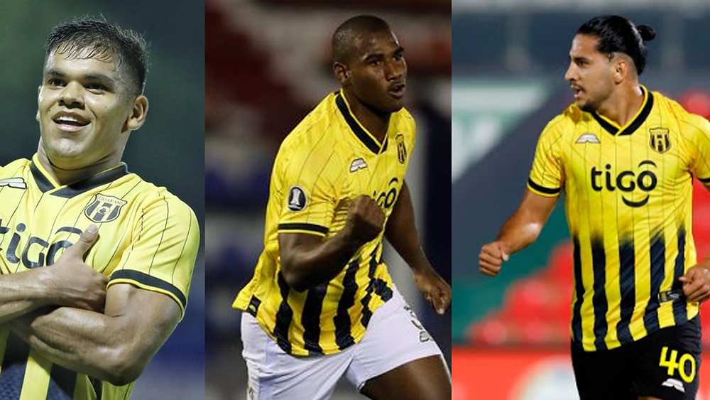 Rodney Redes, Jhohan Romana, and Cecilio Dominguez playing together for Guarani.
