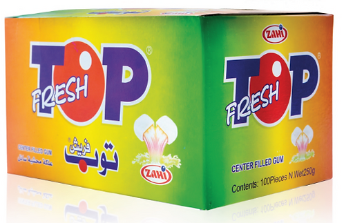 ZAHI Top Fresh Center Filled (100Pcs) | 12 Packgs|علكة محشية أكياس