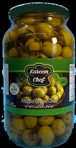 KareemChef Aleppo Green Olive |1200 g|زيتون  أخضر حلبي زهرة