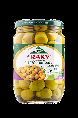Al Raky Aleppo Green Olive |650 g|زيتون  أخضر حلبي زهره