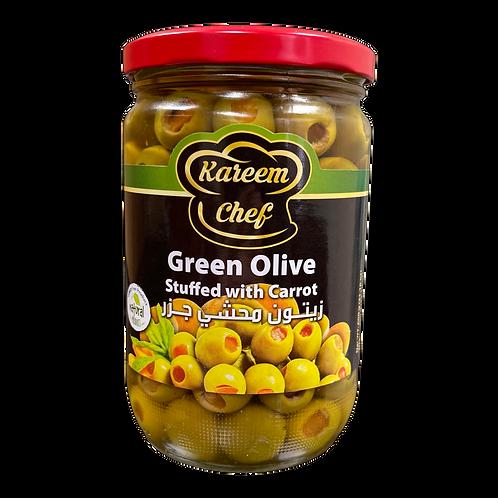 KareemChef Stuffed Green Olive W/Carrot|400 g|زيتون اخضر محشي جزر