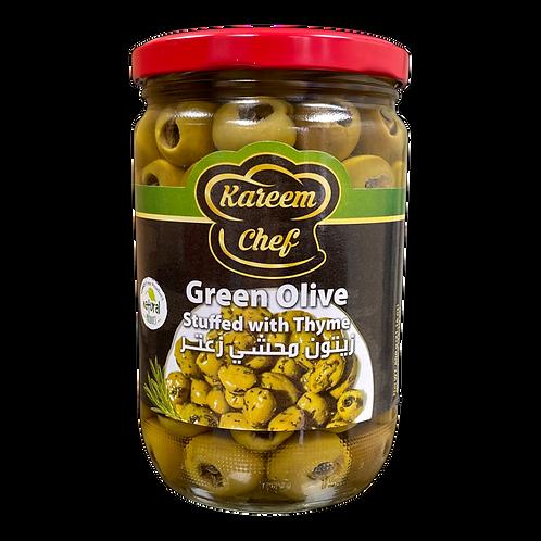 KareemChef Stuffed Green Olive W/Thyme |400 g|زيتون اخضر محشي زعتر