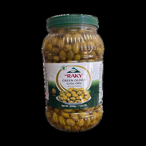 Al Raky Baladi Green Olive |3200 g|زيتون اخضر بلدي أول