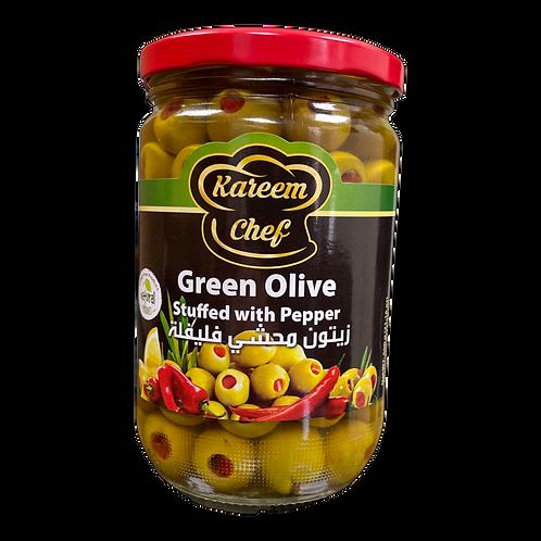 KareemChef Stuffed Green Olive W/Pepper|400 g|زيتون اخضر محشي فليفلة