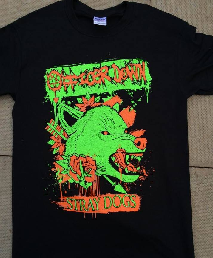 2 colour orange/green on black tee