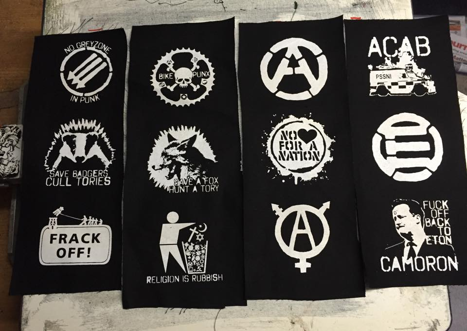 Black cotton patches (White Ink)
