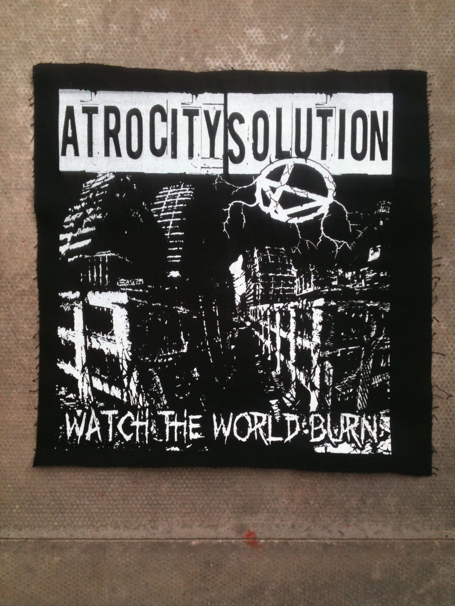 Black cotton backpatches (White Ink)