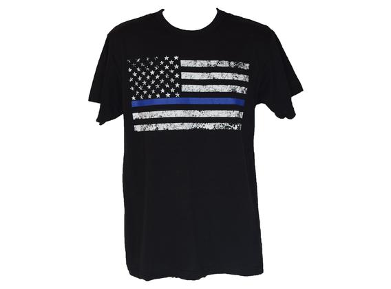 US Flag White and Blue Black T Shirt