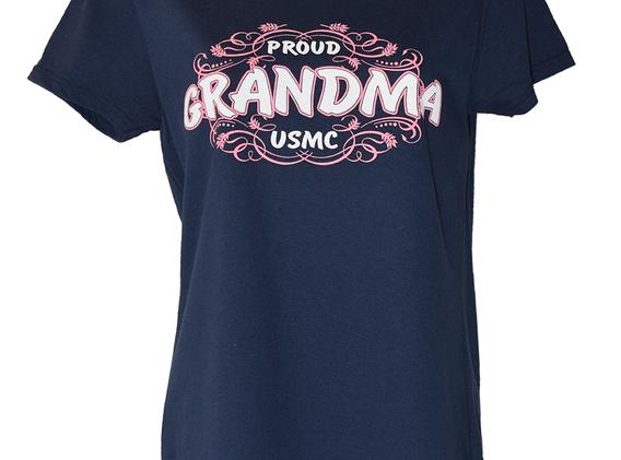 Proud Grandma USMC Navy Blue T Shirt