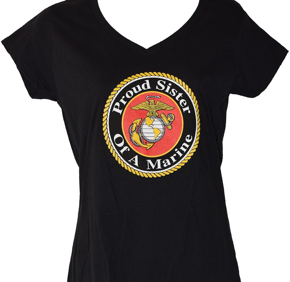 Proud Sister of a Marine V Neck Black