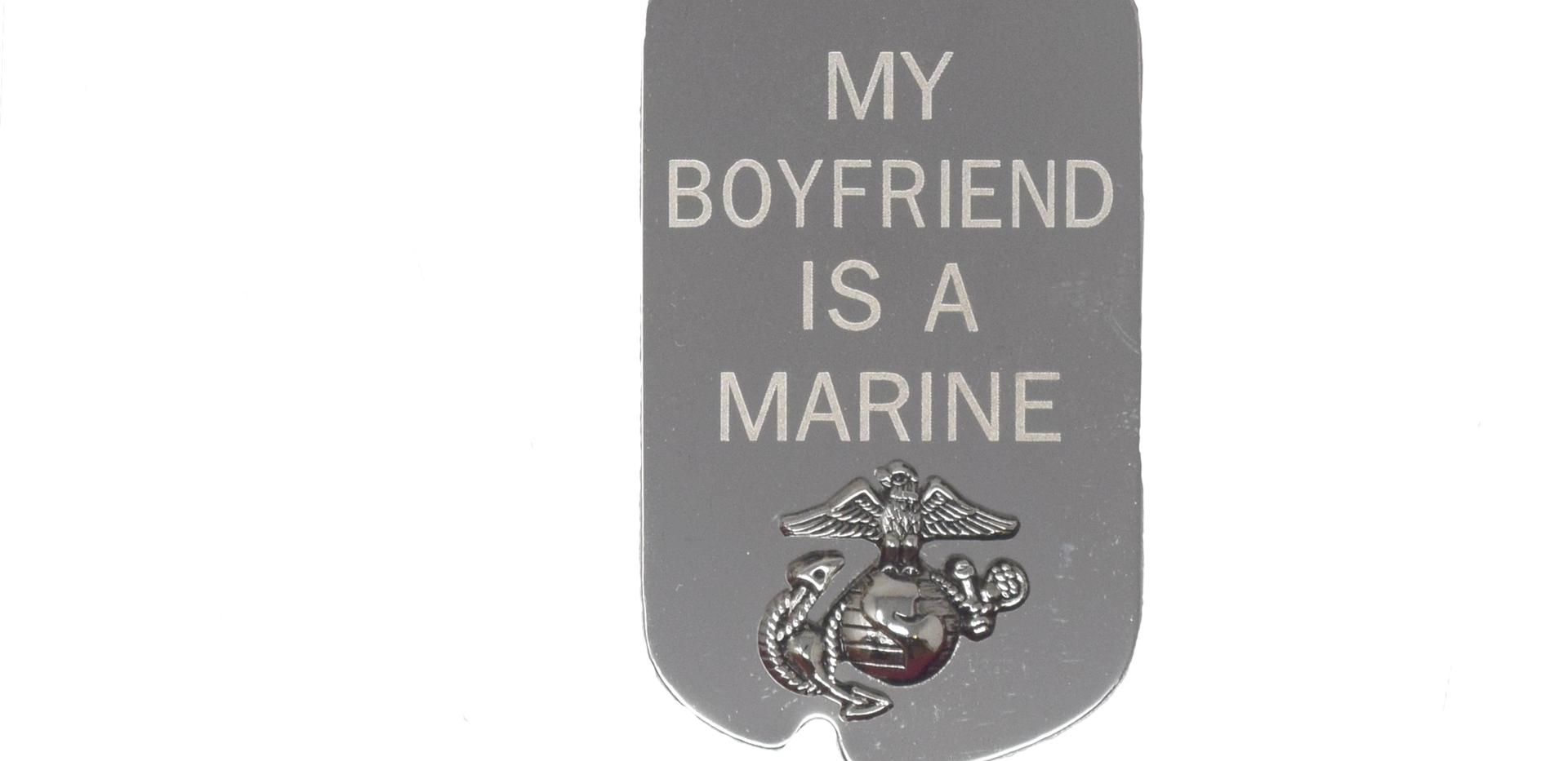 My Boyfriend is a Marine Dogtag Silver