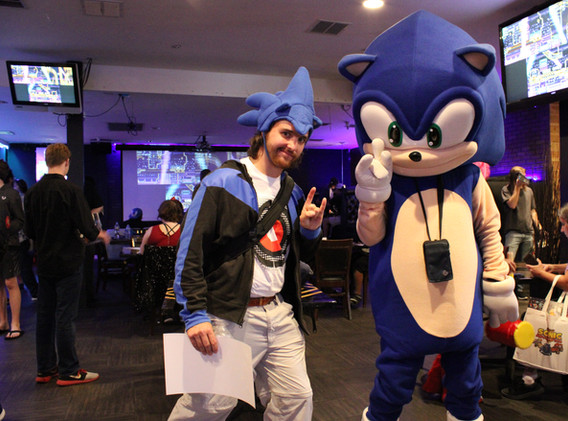 Posing with Sonic