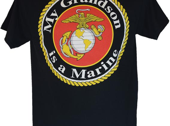 My Grandson is a Marine T Shirt Back