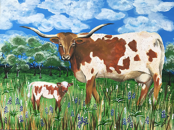 Longhorn Original Acrylic Painting