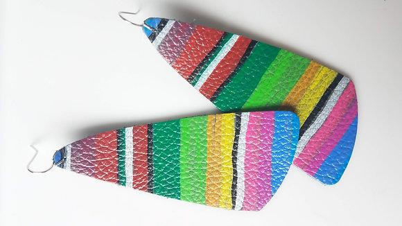 Serape Stripe Oblong Leather Earrings