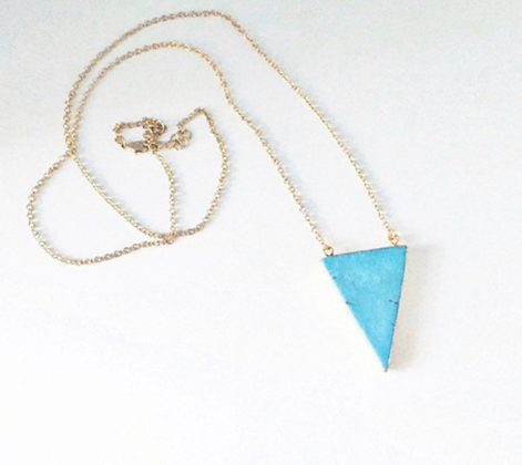 Turquoise Howlite Triangle Necklace