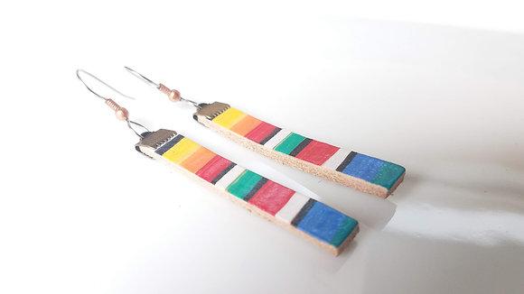 Serape Stripe Leather Bar Earrings