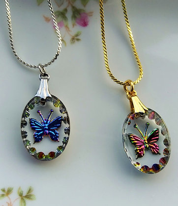 Crystal Intaglio Oval Iridescent Butterfly Necklace