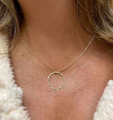14K Gold Layered Single Hammered Circle Necklace