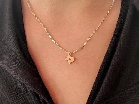 TX Open Heart Gold Necklace