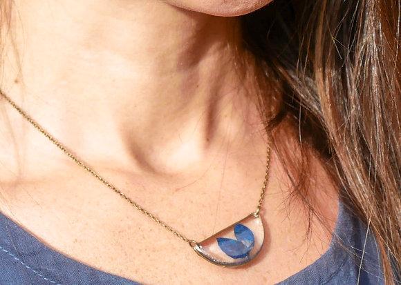 Pressed Texas Bluebonnet Petal Necklace