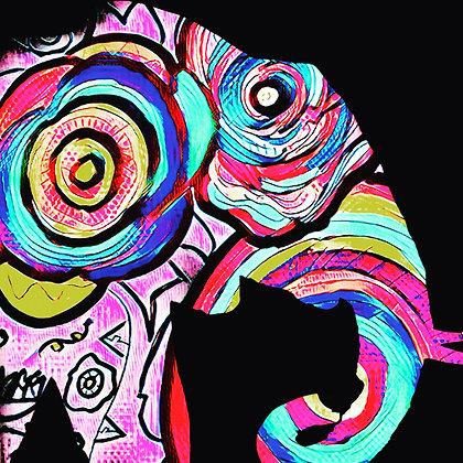Mixed Media Framed Elephant Art Print